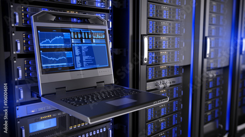 Rackmount LED console in server room data center