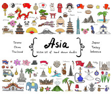 Vector Set With Hand Drawn Colored Doodles On The Theme Of Asian