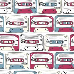 Tapeta Music symbols. Seamless pattern of ratro cassettes. rock music b
