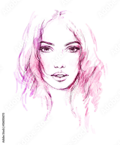 Poster Portrait Aquarelle Beautiful woman. fashion illustration