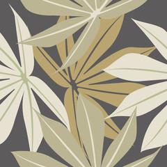 Fototapeta samoprzylepna Stylish seamless pattern with tropical leaves