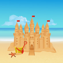 Sandcastle On Tropical Beach. ...