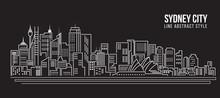 Cityscape Building Line Art Vector Illustration Design - Sydney City