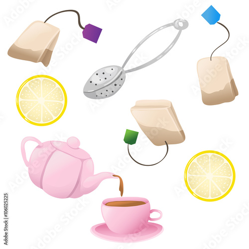 Valokuva  Set of tea icons