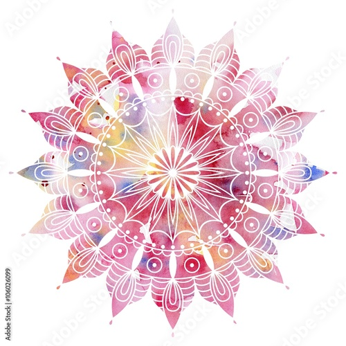 Valokuvatapetti Mandala  colorful watercolor