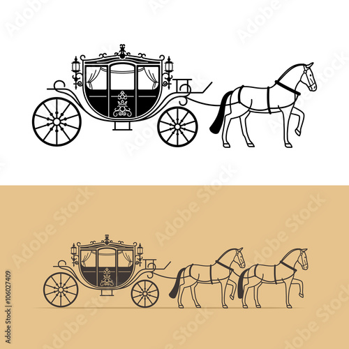 Leinwand Poster Carriage silhouette with horse. Vector horse carriage silhouette