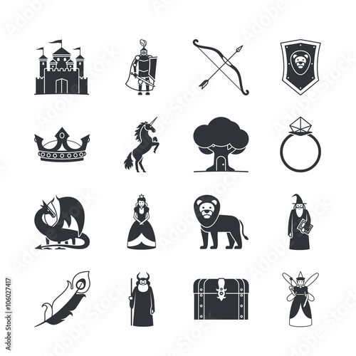Juliste  Fairytale icons or fantasy icons