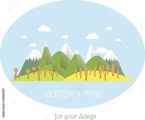 Series four seasons. Mountain landscape in autumn time. Modern flat design, design element, vector