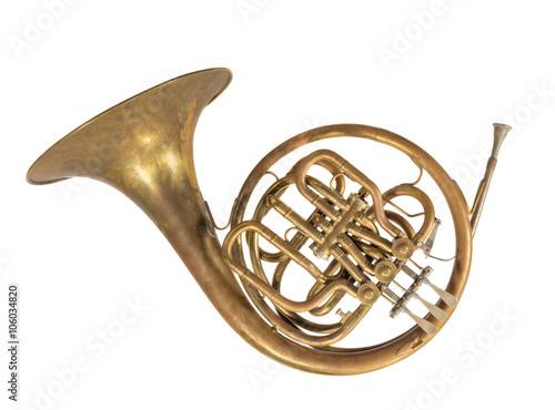 Fotografia  altes blasinstrument horn, waldhorn