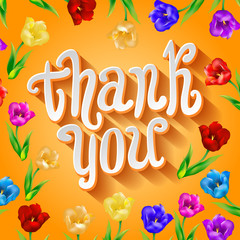 Vector Thank you script greeting card with cute floral elements.