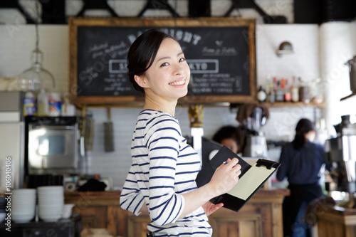 カフェ・働く女性 Fototapete