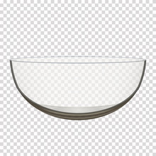 Transparent Glass Bowl Isolated Realistic Vector Iilustration