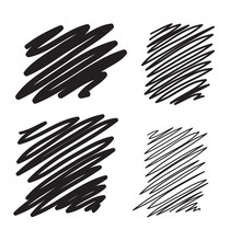 Blobs Set Vector Hand Drawn Illustration. Collection Of Black Pa