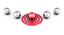 Different Red Ball On Target Out From Metallic Balls