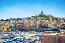 Panoramic Cityscape Of Marseille, View On The Notre Dame De La Garde, Marseille, Provence, France
