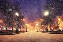 Background Blur City Evening Snow