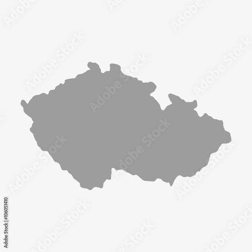 Fotografía  Czech Republic map in gray on a white background