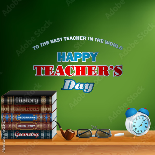 Happy Teacher S Day Design Template With School Books Stick Of