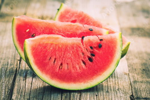 Watermelon slices on the wooden table Canvas Print