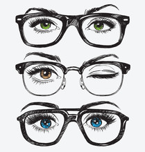 Set Of Hand Drawn Women's Eyes...