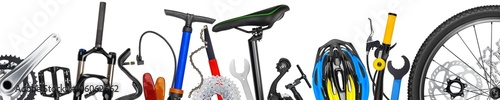 Foto op Plexiglas Fietsen bicycle wide concept with many parts and components isolated on white background
