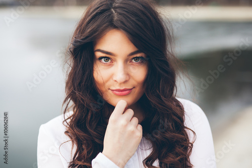 plakat Beautiful woman face closeup