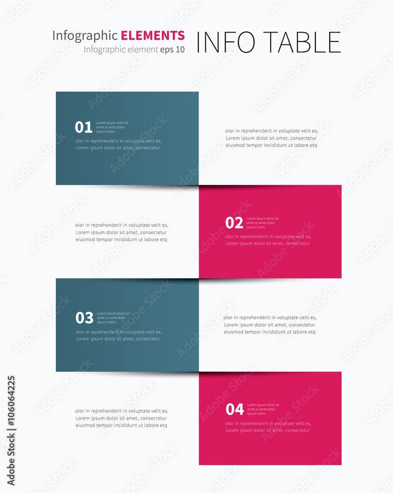 photo & art print infographic table options 4 / vector tabular