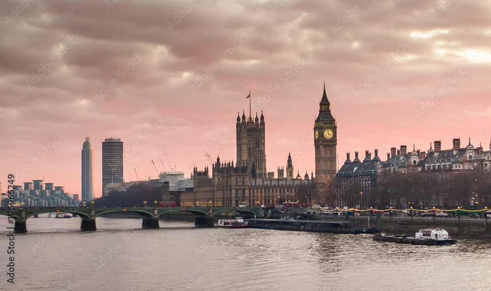 Fototapety, obrazy: Big Ben and Westminster Bridge at sunset London, UK