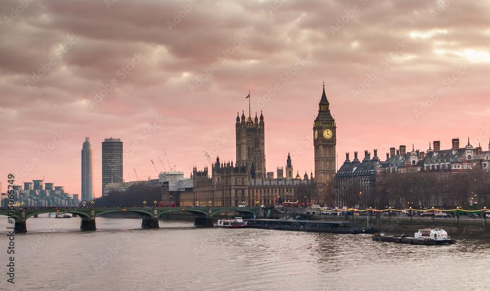 Fototapety, obrazy: Big Ben and Westminster Bridge at sunset London, UK