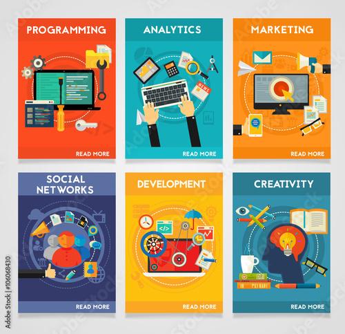 Fototapety, obrazy: Flat concept banners. Programming, Analytics, Marketing, Social Networks, Development, Creativity