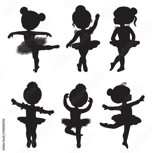 Fotografie, Obraz  Vector set of silhouettes of little ballerinas.