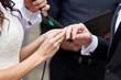 bride wears a wedding ring on finger of groom