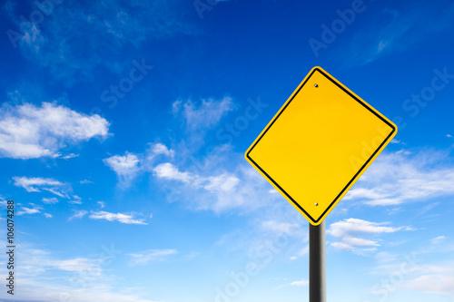 Fotografía  Empty road sign against blue sky with copy space. Conceptual.
