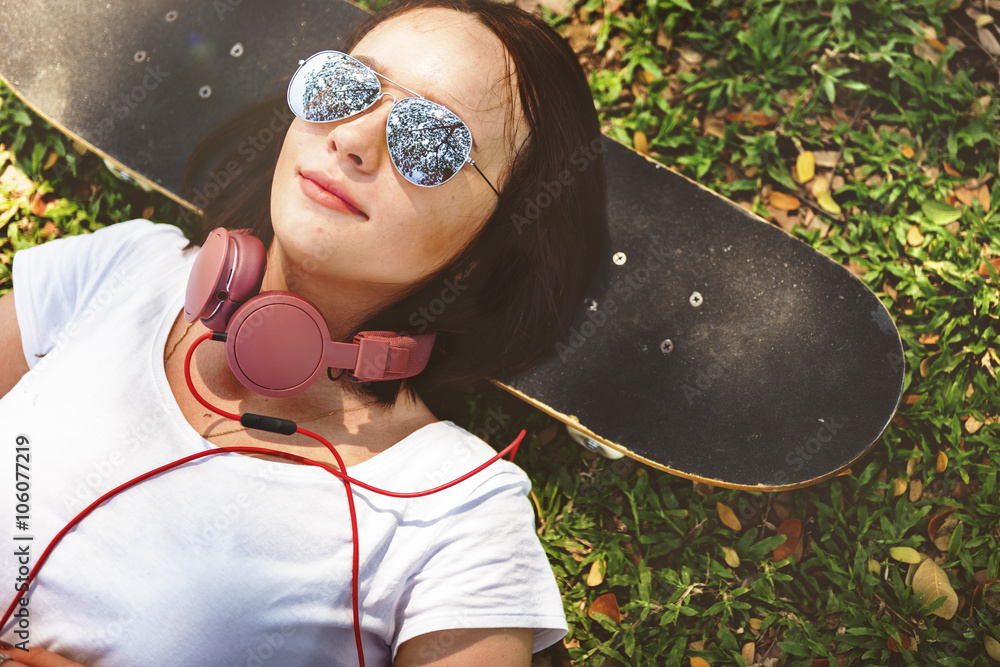 Fototapety, obrazy: Skateboard Relaxation Rest Lying Chill Headphone Concept