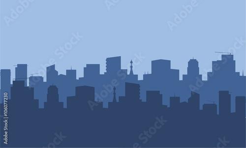 Foto op Plexiglas Grijs Silhouette of city with blue color