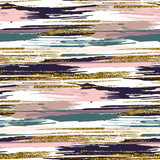 Vector seamless pattern with gold glitter textured brush strokes and stripes - 106077600