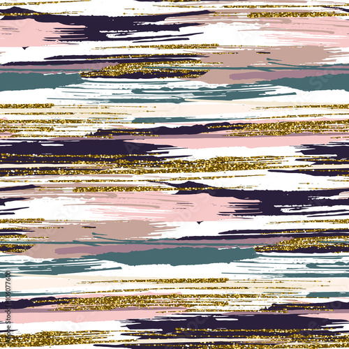 Papiers peints Artificiel Vector seamless pattern with gold glitter textured brush strokes and stripes