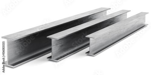 Fotografie, Obraz  Steel I-beam. Flange beam on a white background