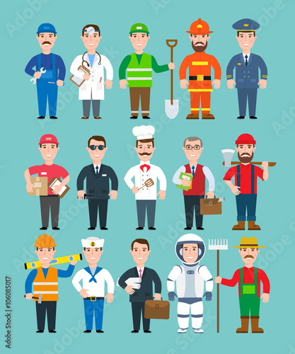mans professions set.doctor,mechanic,worker,fireman,delivery man.policeman.chef.teacher,security,pilot.builder.sailor.business man.astronaut.farmer.lumberjack.