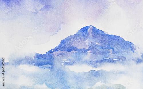 akwarela-gory-niebieskie-na-papierze