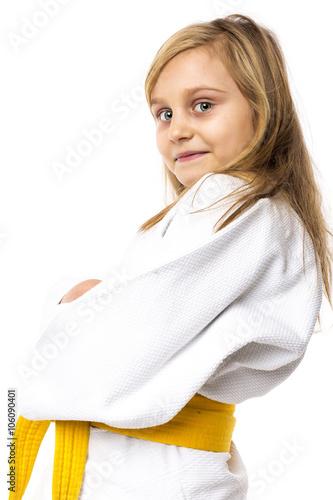 Photo  Portrait of an adorable  karate girl in kimono