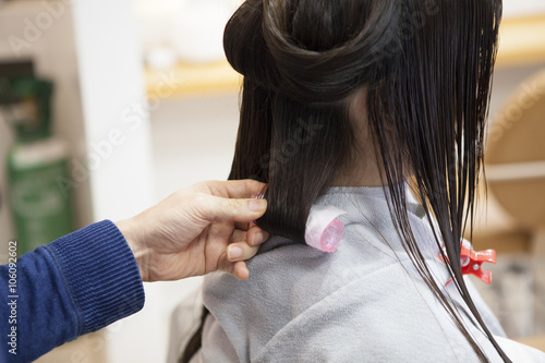 Women Change The Hairstyle In The Beauty Salon Buy This Stock