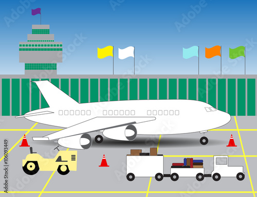 Papiers peints Avion, ballon illustration of an airport with a picture of the plane on landin