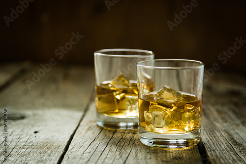 Canvas Prints Bar Whistey with ice in glasses