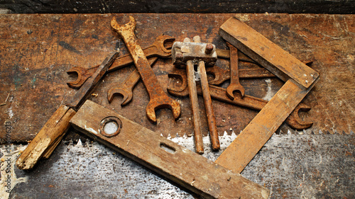 Old Woodworking Tools On Dirty Wooden Table Buy This Stock Photo