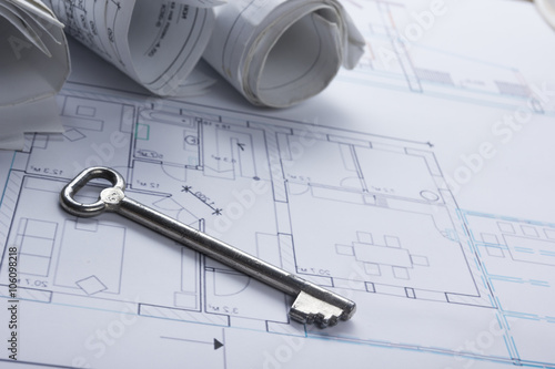 Architect worplace top view architectural project blueprints architectural project blueprints blueprint rolls and divider compass malvernweather Images