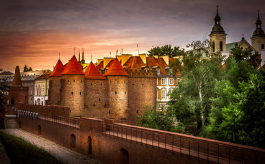 FototapetaOld buildings and structures. Warsaw Attractions. Sights. Urban landscape. Old castle