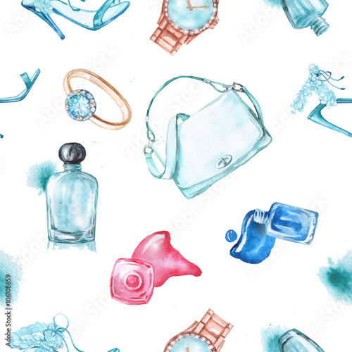 Cotton fabric Watercolor fashion and cosmetics background with make up artist objects: ladies watch, handbag, nail Polish, jewelry, shoes, perfume.