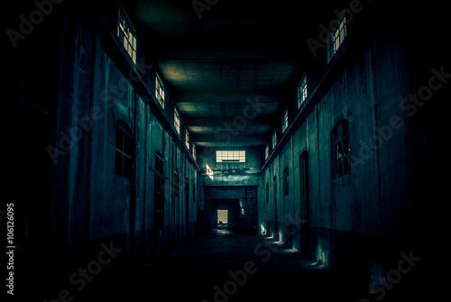 Staande foto Industrial geb. abandoned industrial building - monochrome style image