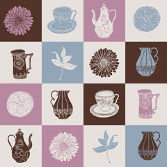 Plakat Tea time vector wallpaper, retro greeting card for design